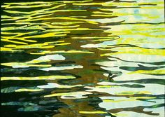 Reflections ~ Barbara Schneider..This art quilt is part of a series based on photographs of moving water. The series explores the concept of reflection and how to capture the essence of images that are not physically there, images made of light and movement, images that are infinitely variable.