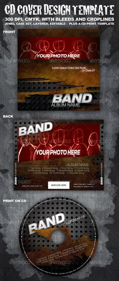 """This is more than just a CD cover template. You get a full, designed, layered artwork, ready to use (just put your photos over placeholders, and change the text). Barcode is optional, I've left space for it if you have one. Also, you can use that space for legal warnings, etc. To change your band's name (if you don't have a logo), just replace all 3 layers of text """"BAND"""" and it will preserve the look. You can change colors, move things around, etc."""