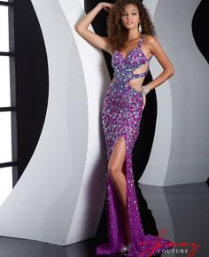 Stunning long purple-turquoise crystal beaded backless prom dress 2015 with side cutouts, open back and long flowy skirt with a side slit