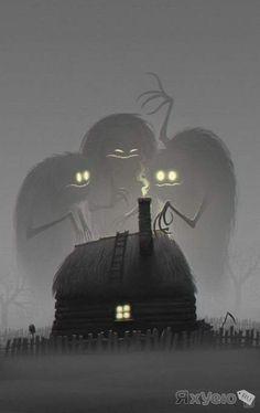 Twilight - 2 hour digital painting by concept artist Denis Zilber Art And Illustration, Art Illustrations, Monster Illustration, Halloween Illustration, Arte Horror, Horror Art, Denis Zilber, Arte Obscura, Creepy Art