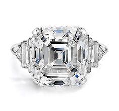 Ivanka Trump Collection Platinum Asscher Cut Diamond Ring with Mixed Cut Diamond Band