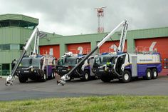Appliance fleet at Newcastle Airport 2007 following delivery of 3 x Rosenbauer Panthers.