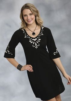 Roper® Black Floral Applique A-Line Jersey Western Dress