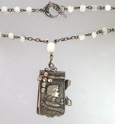 FRENCH Antique CHATELAINE Saint JOAN of ARC Art Nouveau Repousse CARNET de BAL Book Locket MOTHER of PEARL Rosary Beads CROSS-n-japbk