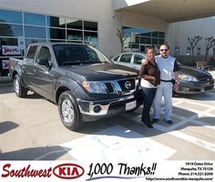 Southwest Kia of Mesquite would like to say Congratulations to Louie Aguilar on the 2010 Nissan Frontier