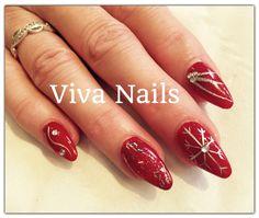 #almond #acrylicnails #nails #red #polish #nailpolish #silver #glitter #snowflake #diamonds #nailart #nailporn #getnailed #vivanails #swinton #manchester
