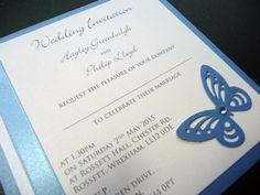 Cornflower Blue and White themed Wedding Invitations