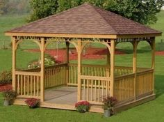 Square Gazebo - Idea: Add mosquito nets on rollers/rods that tie in the corners of the gazebo.