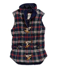 Navy & Red Plaid Toggle Vest