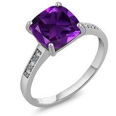 10K White Gold Cushion Cut 8MM Purple Amethyst and Diamond Women's Ring (2.05 cttw, 8MM Center, Available in size 5, 6, 7, 8, 9)