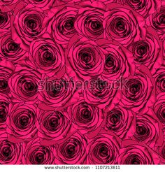 Rose flowers seamless pattern background. Red colors vector illustration.