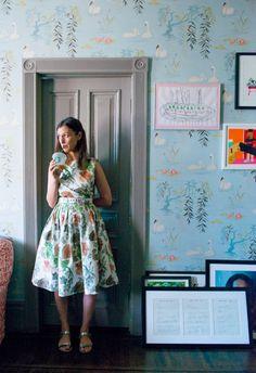 my favorite wallpaper - Nina Cambpell Swan Lake - Sally Singer on The Coveteur - Swan Wallpaper, Chelsea Hotel, Nina Campbell, Grey Room, Painting Trim, Wall Patterns, Vogue Patterns, Blue Wallpapers, Swan Lake