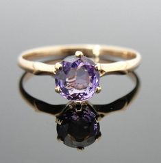 Purple Ceylon Sapphire Antique Engagement Ring