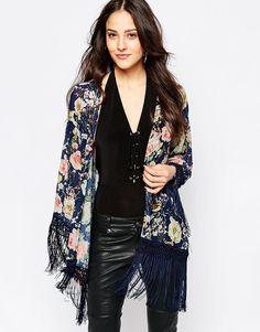 Image 1 ofJessica Wright Suzie Floral Tassle Kimono