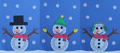 Snowman with paper doilies