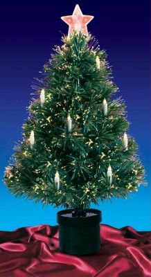 DAK 3-ft Pre-Lit Multicolored Fiber Optic Christmas Tree with Candles