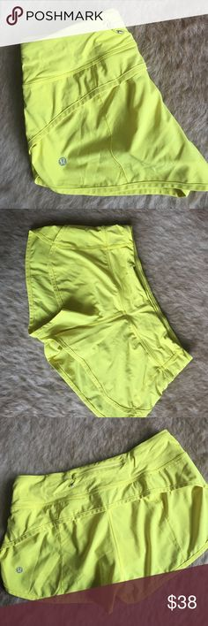 Lululemon Speed Shorts | Yellow sz 6 Lululemon core shore the Speed Short featuring a 2.5 in inseam and built in liner. Luxtreme waistband with drawstring tie inside to tighten. Zippered pocket on waistband. Minimal wear and washed according to Lululemon's fabric care. lululemon athletica Shorts