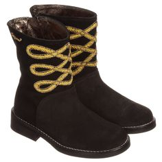 DSquared2 Girls Black Suede Boots at Childrensalon.com
