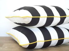 Black striped outdoor pillow with piping, outdoor bench cushion case, black and white chair cushion, block striped outside pillow cover