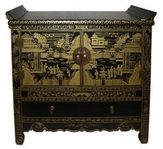 Cabinet with Gold Painting