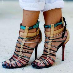 Closed Toe Buckle Color Block Stiletto Heel Women's Sandals