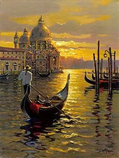 Venetian Sunset, by Bob Pejman - paint and art Venice Painting, Italy Painting, Classical Realism, Pictures To Paint, Beautiful Paintings, Painting Inspiration, Monet, Amazing Art, Landscape Paintings
