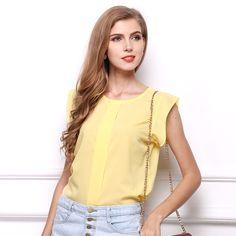 Womens Blouses Chiffon Clothing Summer Lady Blouse/Shirt Sale New Fashion Ruffle Short Sleeve 4 Colors Tops OL Blouse