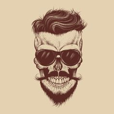 Hipster skull with sunglasses, hipster hair and mustache - image | Adobe Stock