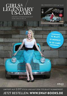"""Unser Covergirl Zoe Scarlett und ein Chevy Special Deluxe von 1940 im """"Girls & legendary US-Cars"""" 2017 Kalender von Carlos Kella / SWAY Books (H&MU by Christian Olivier Merz, Danke an Nicole und Uli Bade!)"""