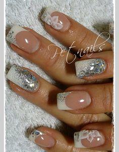 Silver glitter white tips