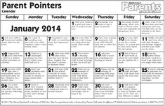 Calendario para padres - Parent Pointers Calendar - Middle School - JANUARY 2014