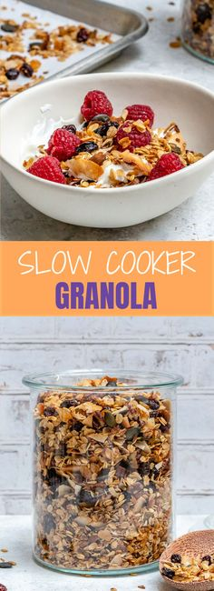 Super Easy Slow Cooker Granola for Morning Clean Eats! - Super Easy Slow Cooker Granola for Morning Clean Eats! Clean Eating Recipes For Dinner, Clean Recipes, Low Carb Recipes, Snack Recipes, Clean Meals, Slimming Recipes, Eating Clean, Crockpot Recipes, Raw Pumpkin Seeds