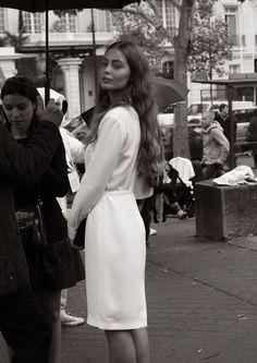 long-sleeve white dress