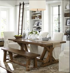 Pottery Barn - rustic table + fabric chairs