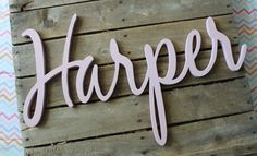 Harper Pink Wooden Name Sign by CucumberAppleStudio on Etsy