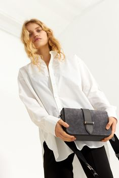 Abigail satchel w/ canvas Smooth Leather, Suede Leather, Sporty Look, Satchel Bag, Campaign, Canvas, Grey, Tops, Women
