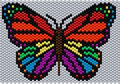 Rainbow Butterfly Brick/Peyote Pattern 60 Columns X 32 Columns (Pattern by me, Man in the Book)