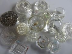 Vintage Buttons - lot of clear Depression glass, assorted faceted novelty styles cut glass, lot of 17 (lot  aug 383) by pillowtalkswf on Etsy