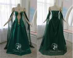 Jade Dragon Gown by Firefly-Path on DeviantArt Pretty Outfits, Pretty Dresses, Beautiful Dresses, Ball Dresses, Ball Gowns, Prom Dresses, Cape Tutorial, Fantasy Gowns, Fairy Dress