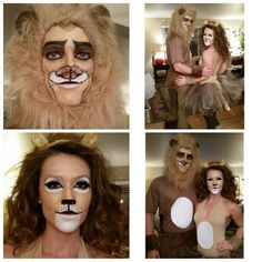 I did my sister and her boyfriends makeup for Halloween... She made the costumes! Nala and Simba costumes!