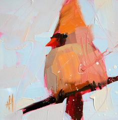 Cardinal no. 60 original bird oil painting by Moulton 6 x 6 inches on panel  prattcreekart
