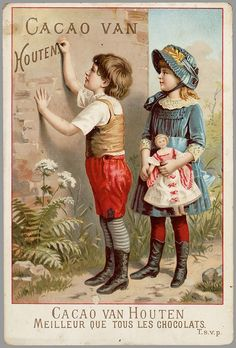 Vintage Cacao Van Houten advert, love the clothes on girl and her doll! Posters Vintage, Retro Poster, Images Vintage, Poster Ads, Vintage Labels, Vintage Ephemera, Vintage Pictures, Vintage Postcards, Vintage Prints