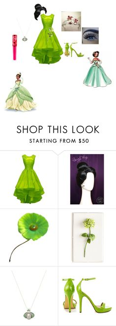 """""""Tiana...frog princess"""" by marshmallowkisses ❤ liked on Polyvore featuring Disney, Hattie Carnegie, Tommy Mitchell, Inner Circle Jewelry, Chaumet, Michael Antonio and Lime Crime"""