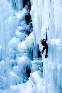 climber on big ice mountain #extreme