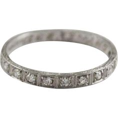 Art Deco Platinum & Diamond Wedding Band Size 7