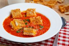Brilliant. (Roasted Tomato Soup with) Grilled Cheese Croutons.    http://www.closetcooking.com/2008/10/roasted-tomato-soup.html
