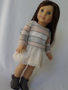 Peach and Gray Stripes Sweater for American Girl Dolls All American Doll, My American Girl, American Girl Crafts, American Doll Clothes, Ag Doll Clothes, Doll Clothes Patterns, Girl Outfits, Cute Outfits, America Girl