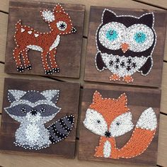 For all animal lovers out there! A beautiful string art critter is the perfect conversation piece! This is a great use for a nursery! Let me know if you would like me to add a name to the piece! (Please contact me about other animals).  You will receive 1 critter of your choice!  Hello! My name is Sarah and I am new to Etsy! I have been doing Modern String Art for many years and enjoy it so much! I decided to start offering made to order string art on Etsy to help pay for some of my wedding…