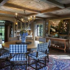 """Cindy Rinfret has been creating iconic, internationally awarded interior design projects while defining """"Greenwich Style"""" for over twenty years. Luxury Interior, Decor Interior Design, Rug Under Dining Table, Dining Tables, Dining Rooms, Looking For Houses, Beautiful Interiors, Home Furniture, Tudor"""