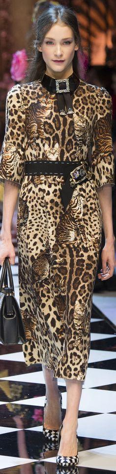 Dolce & Gabbana - FALL 2016 READY-TO-WEAR ... leopard and kitty print dress seen in June/July 2016 Harper's Bazaar